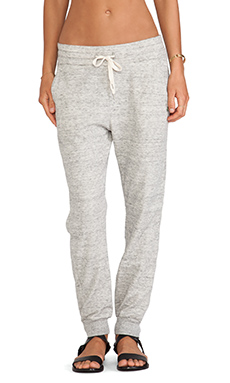 EVER Bleeker Zip Back Sweatpant in Heather Grey