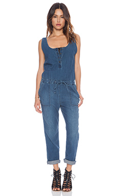 Ever Utility Romper in Indigo Worn Wash