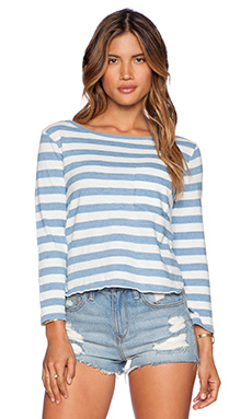EVER Rita 3/4 Sleeve Tee in Navy Stripe