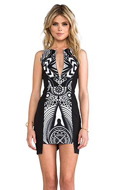 FAIRGROUND Kaleidoscope Scuba Dress in Black