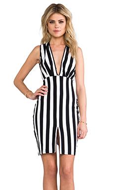 FAIRGROUND Blondie Stripe Dress in Black & White Stripe