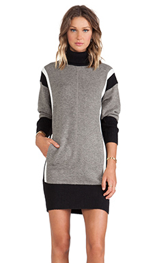 Faith Connexion Mix Of Knit Dress in Grey, Black & White