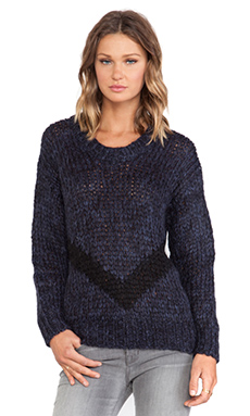 Faith Connexion Fancy Mohair Knit Sweater in Navy & Black