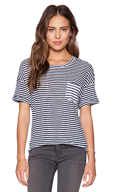 FRAME Denim Le Boyfriend Tee in Navy Stripe