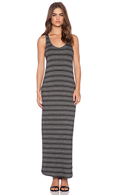 Feel the Piece Trudy Maxi Dress in Black Stripe