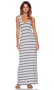 Feel the Piece Variegated V Maxi Dress in Navy & White