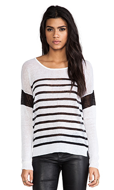 Feel the Piece Serena Striped Sweater in White & Black