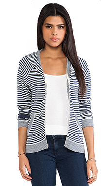Feel the Piece Nali Stripe Zip Up Hoodie in Navy & White Stripe