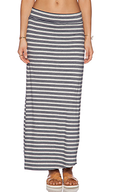 Feel the Piece Rourke Maxi Skirt in Grey & Navy Stripe