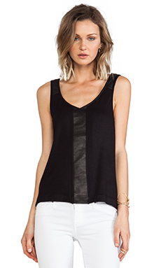 Feel the Piece Remi Leather Trim Tank in Black