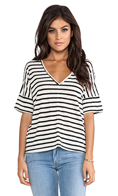 Feel the Piece Linen Stripe Tee in Natural & Black Stripe
