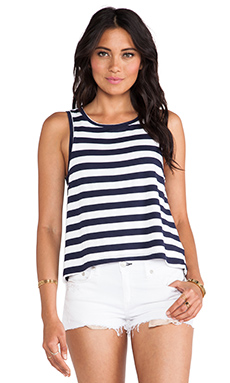Feel the Piece Doe Slit Back Tank in Navy & White Stripe
