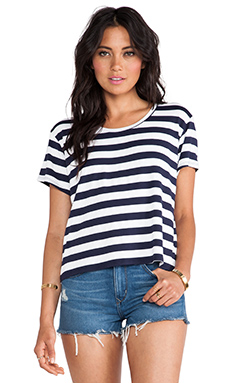 Feel the Piece Tommy Crop Top in Navy & White Stripe