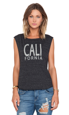 Feel the Piece x Tyler Jacobs Cali Cut Off Tank in Dark Charcoal