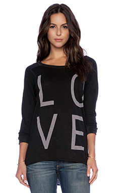Feel the Piece x Tyler Jacobs Love Count Long Sleeve Top in Pitch Black Slub