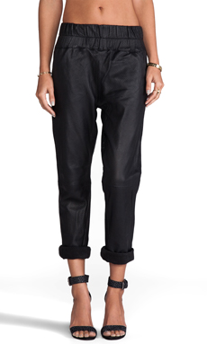 Friend of Mine Boxer Leather Track Pants in Black