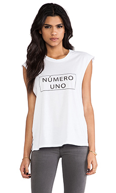 Friend of Mine Numero Uno Tank in White & Black