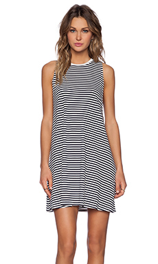 The Fifth Label River City Dress in Navy & White Small Stripe