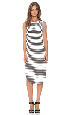 The Fifth Label All Night Dress in Ivory & Black Stripe