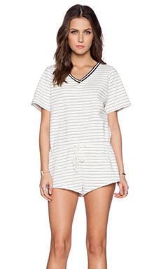 The Fifth Label American Girl Playsuit in White & Black Stripe