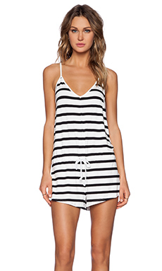 The Fifth Label It's A Straight Line Playsuit in White & Black Large Stripe