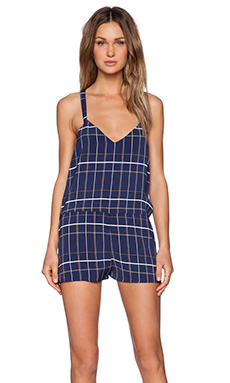 The Fifth Label Lost Soul Playsuit in Navy Tartan Print