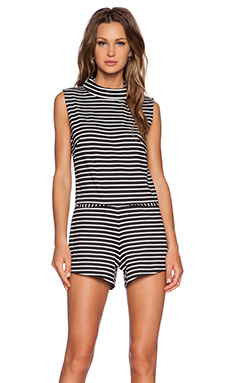 The Fifth Label Lonely Sea Sleeveless Playsuit in Black & White Stripe