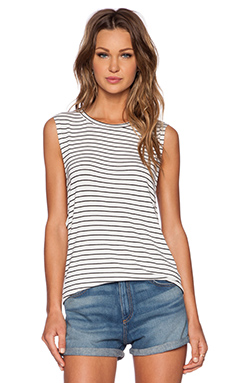 The Fifth Label Moonlight Tank in White & Black Stripe