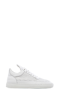Filling Pieces Low Top Woven Leather in White