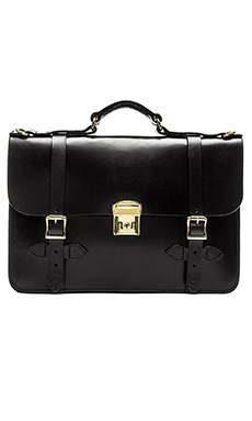 Filson Leather Field Satchel in Black