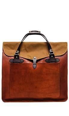 Filson Large Leather Tote in Cognac