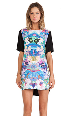 Finders Keepers Simple Life T-Shirt Dress in Hibiscus Print & Black