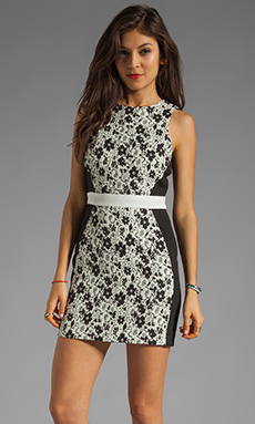 Finders Keepers Fools Gold Dress in Black & White Print/Black