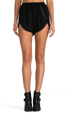 Finders Keepers x REVOLVE Firehouse Leather Trim Shorts in Black