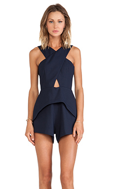 Finders Keepers The Vertigo Playsuit in Dark Navy