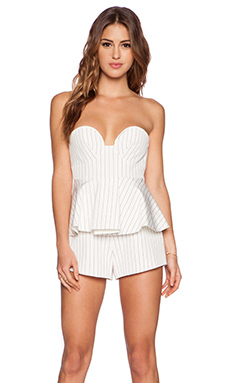 Finders Keepers Revelation Bustier Playsuit in Pinstripe White