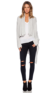 Fine Collection Drape Front Cardigan in Heather Grey