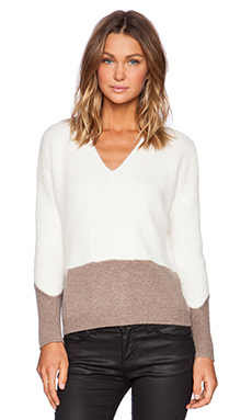 Fine Collection Color Blocked Sweater in Ivory & Heather