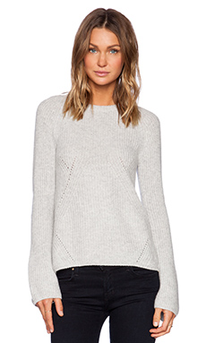 Fine Collection Bell Sleeve Sweater in Heather Grey