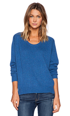 Fine Collection Scoop Neck Sweater in Electric Blue