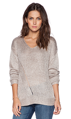 Fine Collection V Neck Sweater in Sand