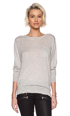 Fine Collection Front Pocket Sweater in Heather Grey