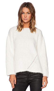 Fine Collection Angora Blend Sweater in Ivory