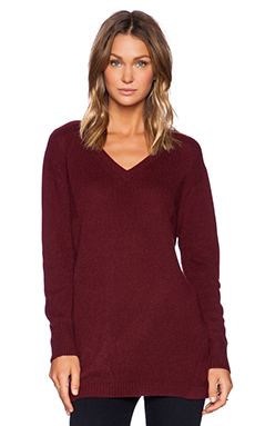 Fine Collection V Neck Sweater in Bordeaux