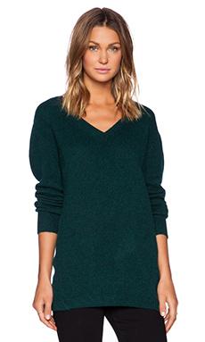 Fine Collection V Neck Sweater in Dark Green
