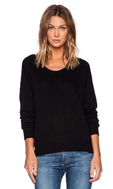 Fine Collection Scoop Neck Sweater in Black