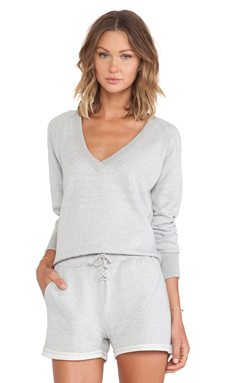 First Base Hooded Sweat Top in Light Grey Marle