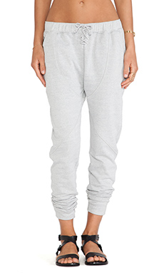 First Base Drop Crotch Trackie Pants in Light Grey Marle