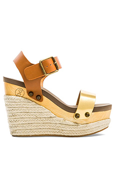 Flogg Lola Wedge in Natural & Gold
