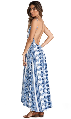 FLYNN SKYE Scoop Back Maxi Dress in Indigo Nights